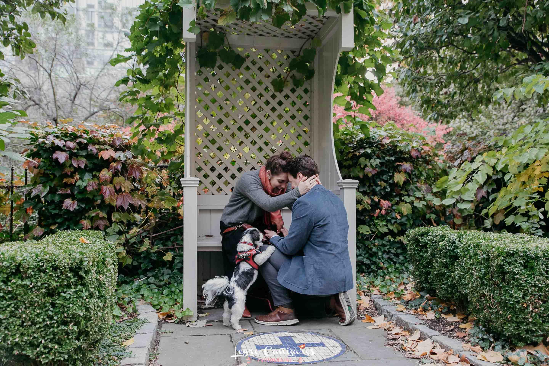 surprise proposal in Morningside drive park, manhattan